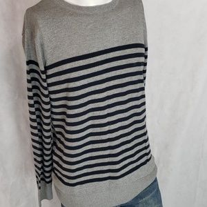 FOREVER 21 mens blue gray chunky stripe sweater m